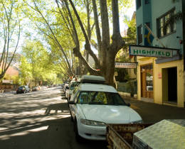 The street outside the Highfield Hotel, Potts Point.